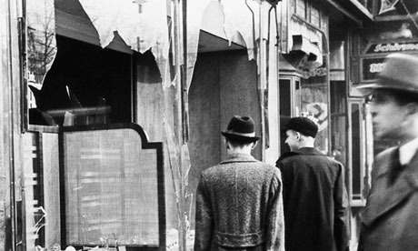 Shattered shop windows after Kristallnacht in Berlin