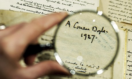 Fine focus … manuscripts by Sir Arthur Conan Doyle, one of many crime writers to have tackled a real-life mystery. Photograph: Sarah Lee for the Guardian