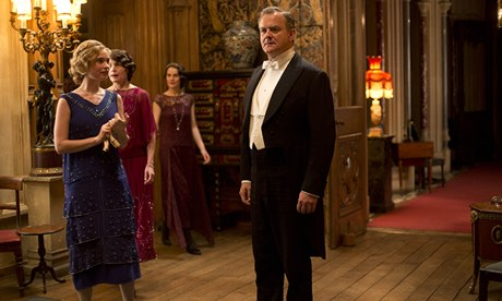 Estate of play … Lily James, Michelle Dockery and Hugh Bonneville in Julian Fellowes's Downton Abbey