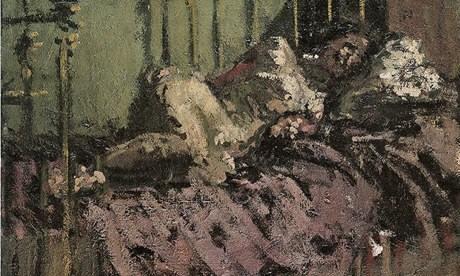 Demonic Degas … A detail from Le Lit de Cuivre by Walter Richard Sickert (c1906). Photograph: Tate. Image from http://www.theguardian.com/artanddesign/jonathanjonesblog/2013/dec/03/walter-sickert-jack-ripper-sex-evil
