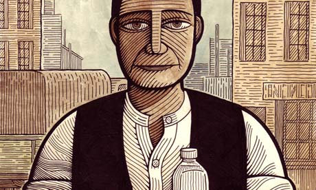 Clifford Harper illustration of man with mineral water bottle