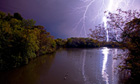 Lightning strike over a lake