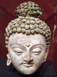 A Buddha head from Mes Aynak at the National Museum of Afghanistan, Kabul.