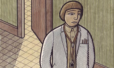 Illustration by Clifford Harper showing female doctor in a corridor