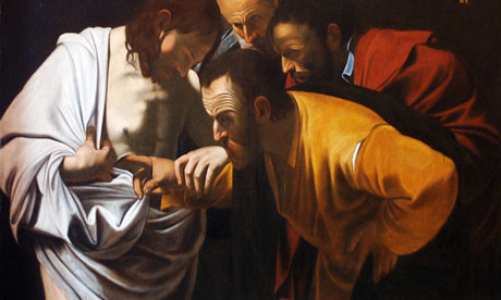 Saint Thomas putting his finger on Christ's wound by Caravaggio