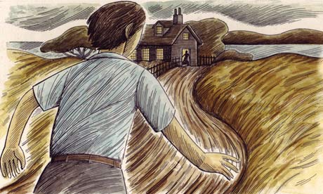 Illustration of person running towards frightening house