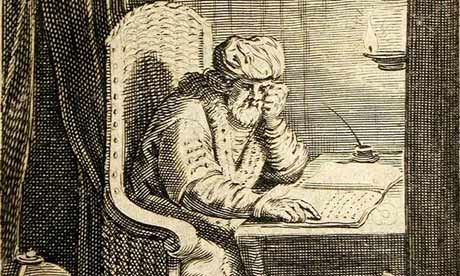 Aulus Gellius at work in his writing chair