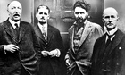 Ford Madox Ford, James Joyce, Ezra Pound and John Quinn at Pound's place in Paris, 1923.