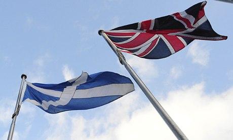 A Scottish flag and a Union Jack