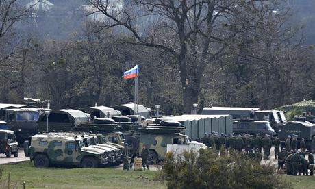 Russian troops and vehicles at a military base in Perevalnoye, near the Crimean city of Simferopol
