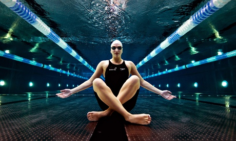 Still waters run deep … the British swimmer Rebecca Adlington poses on the floor of a pool in Nottin