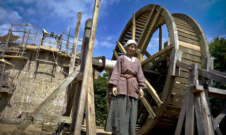 A worker at the construction site of Guédelon Castle