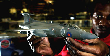 An Airfix model of a Buccaneer jet. Photograph: Andrew Parsons/PA