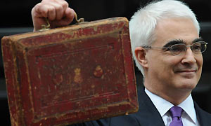 Alistair Darling on budget day March 08