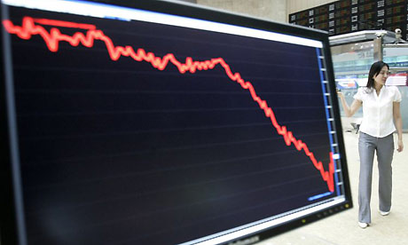 Asian stock markets fell again. Photograph: Ahn Young-Joon/AP