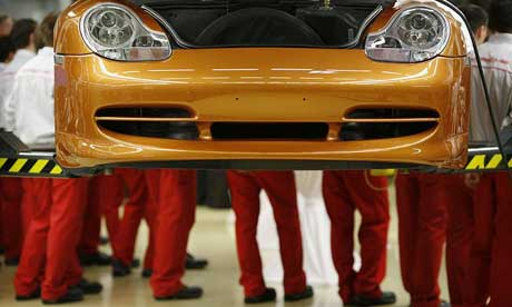 Apprentices at the factory of German sports car maker Porsche