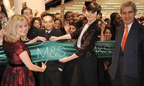 Sir Stuart Rose, Twiggy and Erin O'Connor at Westfield opening. Photograph: Richard Young/Rex Features