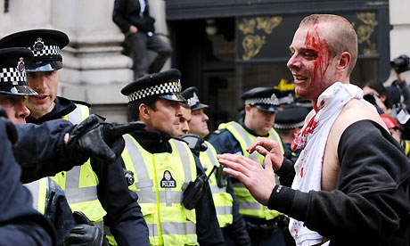 G20 protests turn violent at Bank in the City of London. Photograph: Owen Humphreys/PA