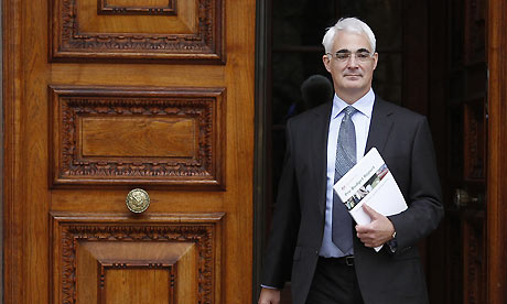 Alistair Darling leaves the Treasury ahead of the pre-budget report