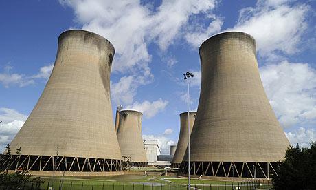 Power station chimneys near Drax in northern England