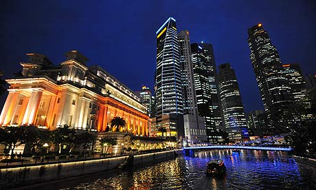 Singapore financial district Raffles Place