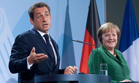 Nicolas Sarkozy and Angela Merkel in Berlin