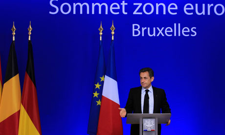 France's president Nicolas Sarkozy  at the end of a euro zone summit in Brussels, October 27, 2011