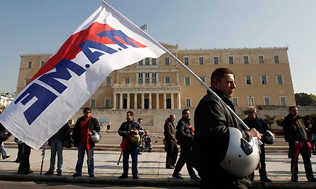 General strike in Greece: Protesters from PAME in front of the parliament in Athens