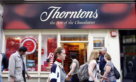 Exterior shot of Thorntons shop
