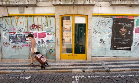 A boarded up shop in Lisbon, Portugal