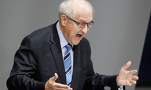 Free Democratic Party's (FDP) Rainer Bruederle addresses the Bundestag