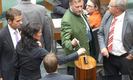 Voting on the eurozone bailout package in the Austrian Parliament, 30 September 2011