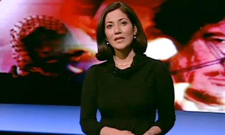 Mishal Husain presenting BBC2's Newsnight