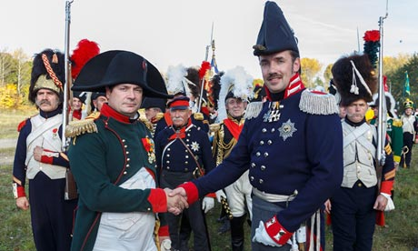Actor Frank Samson (L) reenacts the 1813 Battle of Leipzig as Napoleon during the Napoleonic War