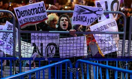 Anti-austerity measure protestors in Madrid, Spain, October 2012