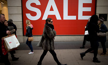 Sale sign on Oxford Street in London