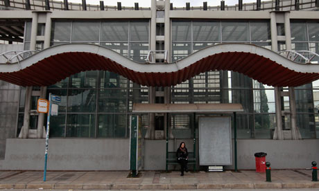 A closed suburban railway station on the first day of a 48-hour strike in Athens, February 10, 2012.
