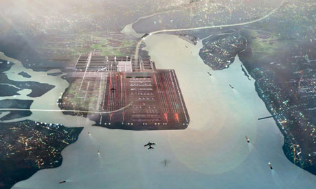 Foster and Partners artist impression of the Thames Hub, a four-runway Thames Estuary airport