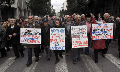 Greek pensioners march in Athens, 14 February 2012.