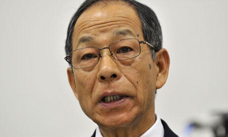 Tsuyoshi Kikukawa, former chairman of Olympus at a press conference in Tokyo
