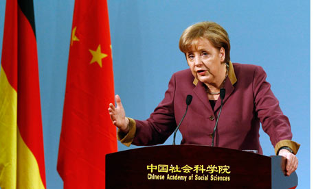 Angela Merkel delivers a speech at the Chinese Academy of Social Sciences in Beijing.