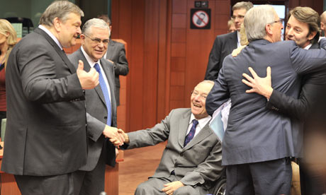 Evangelos Venizelos, Jean-Claude Juncker, Lucas Papademos and Wolfgang Schauble.
