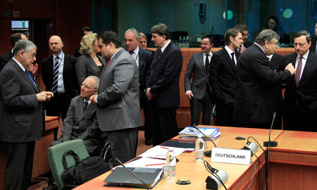 Eurogroup ministers at the European Union council headquarters in Brussels February 20, 2012.