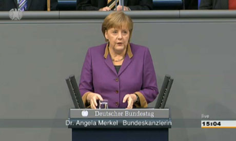 Angela Merkel in the Bundestag debate on Greece's second aid package.