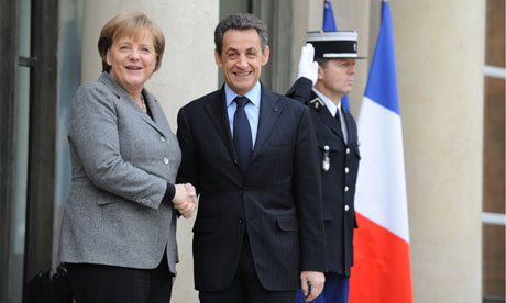 Nicolas Sarkozy meeting Angela Merkel at Elysee Palace, Paris.