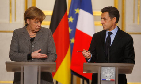 Angela Merkel and Nicolas Sarkozy during a press conference after joint cabinet meeting in Paris.