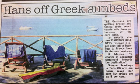 Fewer Germans are holidaying in Greece, according to TUI Travel.