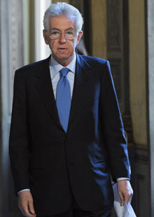 Italian Prime Minister Mario Monti at the Chigi Palace in Rome, Italy, 06 February 2012.