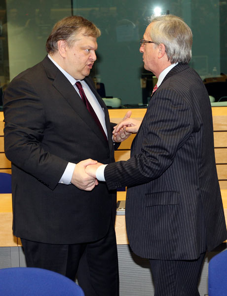 Evangelos Venizelos and Jean-Claude Juncker