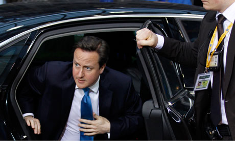 British PM David Cameron arrives for an EU summit in Brussels on Thursday, March 1, 2012.